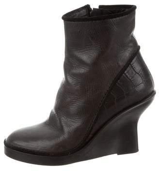 Haider Ackermann Leather Embossed Wedge Booties