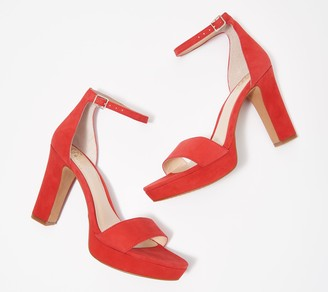 Vince Camuto Suede Two-Piece Platform Heeled Sandals - Sathina