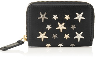 Jimmy Choo MALONE Black Leather Zip Around Wallet with Metallic Mix Stars