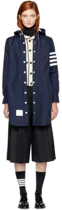Thom Browne Navy Nylon Tech Four Bar Lightweight Coat $1,590 thestylecure.com