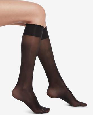 Hue Compression Sheer Knee-High Socks