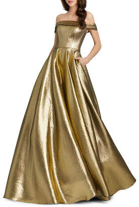 Mac Duggal Off-the-Shoulder Metallic Ball Gown with Pockets