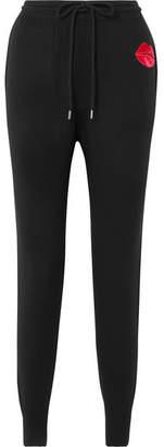 Markus Lupfer Appliquéd Merino Wool Track Pants - Black