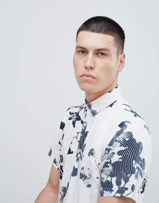 Selected Short Sleeve Viscose Shirt With All Over Print