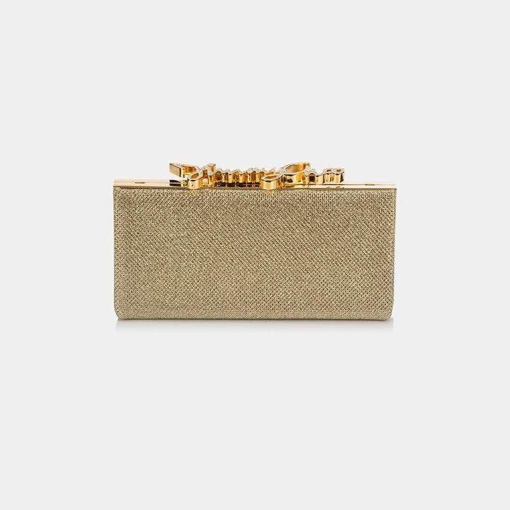 Jimmy Choo Celeste Small Glitter Clutch with Crystal Clasp