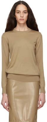 Burberry Beige Merino Check Elbow Patch Sweater
