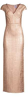 Herve Leger Women's Cap Sleeve V-Neck Foil Gown