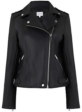Warehouse Faux Leather Biker Jacket, Black