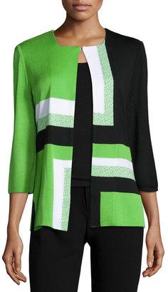 Ming Wang Geometric-Print Hook-Front Jacket, Grass/Black/White $185 thestylecure.com