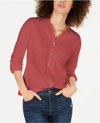 Style&Co. Style & Co Button-Front Shirttail Hem Top