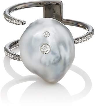 Ring Black Samira 13 Women's Keshi Pearl & White Diamond Cuff Ring