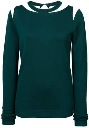 Oscar de la Renta tulle insert cutout sweater