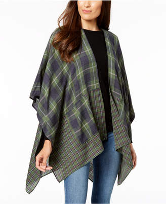 Steve Madden City Chic Plaid Poncho with Pockets
