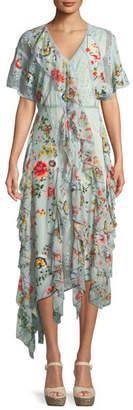 Alice + Olivia Kadence Short-Sleeve Floral-Print Lace Godet Dress w/ Ruffled Frills