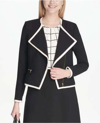 Calvin Klein Petite Piped Zipper-Front Jacket