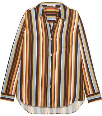Acne Studios Buse Striped Satin Shirt - Yellow