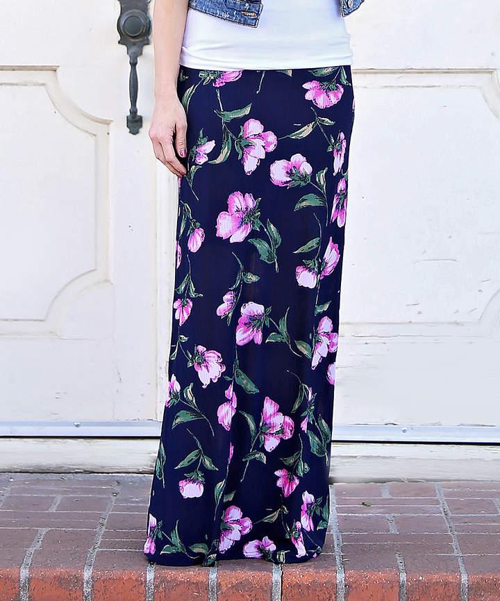 Navy & Pink Floral Maxi Skirt - Women & Juniors