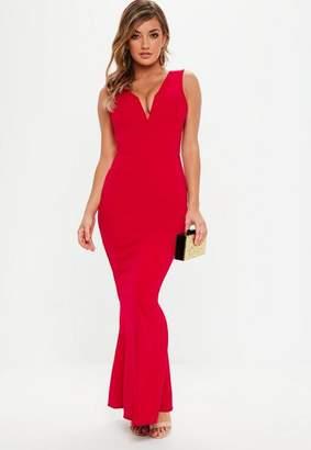 Missguided Petite Red V Plunge Scuba Maxi Dress