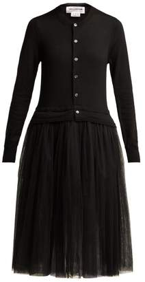 Comme des Garcons Knitted Wool And Tulle Midi Dress - Womens - Black