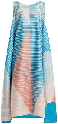 Pleats Please Issey Miyake Pleated triangular-print dress