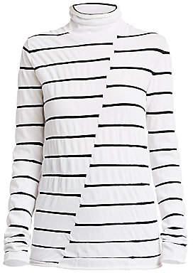 Proenza Schouler White Label Women's Striped Asymmetric Turtleneck Top