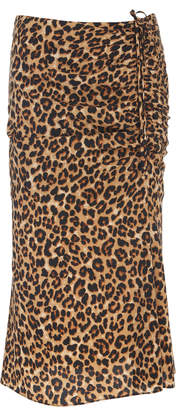 Veronica Beard Vanity Ruched Leopard-Print Silk-Blend Midi Skirt Size: