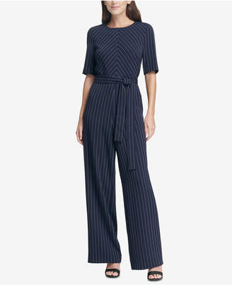 3f79b2893499 DKNY Pinstriped Belted Jumpsuit