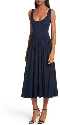 Milly Ballet Neck Midi Dress