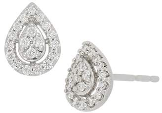 Bony Levy 18K White Gold Pave Diamond Pear Stud Earrings
