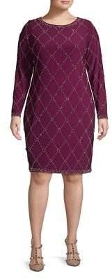 Betsy & Adam Plus Embellished Sheath Dress