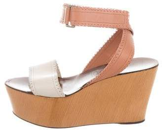 Lanvin Leather Ankle Strap Wedges