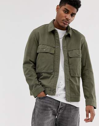 Bershka utility jacket in khaki