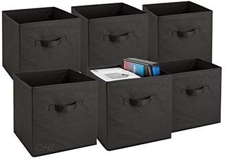 Foldable Cube Storage Bins - 6 Pack - These Decorative Fabric Storage Cubes are Collapsible and Great Organizer for Shelf