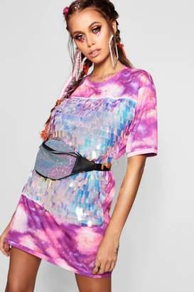 boohoo Tie Dye Sequin Front T-Shirt Dress