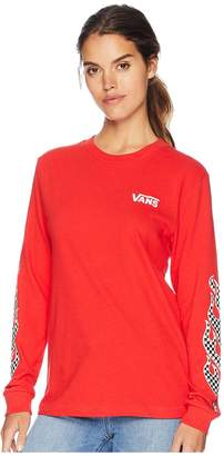 Vans Flame Check Long Sleeve Boyfriend T-Shirt Women's T Shirt