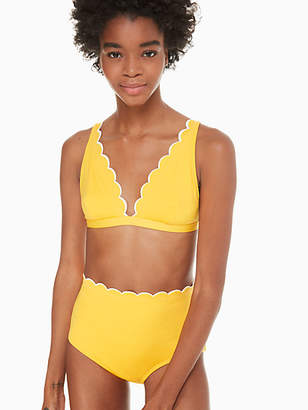 Kate Spade Fort tilden contrast scalloped french bikini top