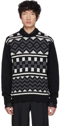 Prada Black Patterned Crewneck Sweater