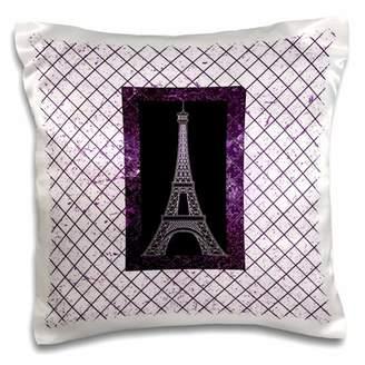 3dRose Purple Eiffel Tower On A Diamond Pattern Background - Pillow Case, 16 by 16-inch