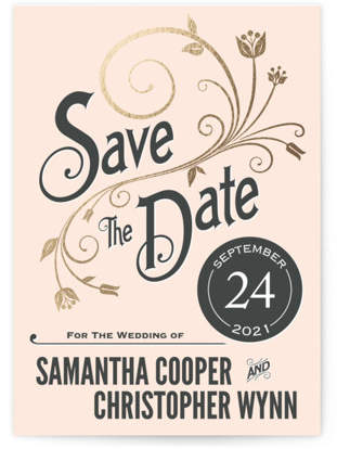 Vintage Blush Foil-Pressed Save the Date Cards