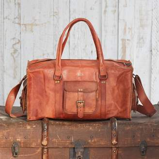 Paper High Personalised Large Brown Leather Holdall