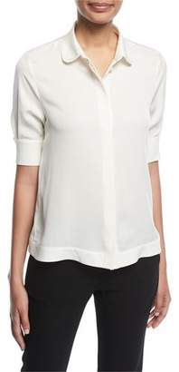 Emporio Armani Button-Front Half-Sleeve Silk Swing Blouse
