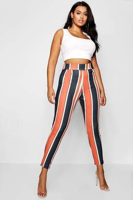 boohoo Plus Bold Stripe Slim Fit Trousers