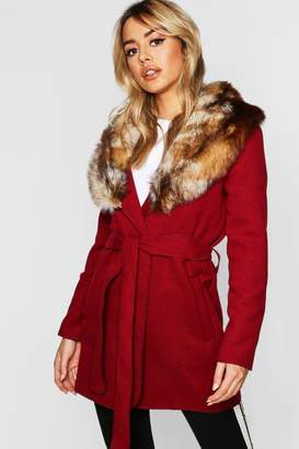 boohoo Petite Faux Fur Collar Belted Wool Look Coat