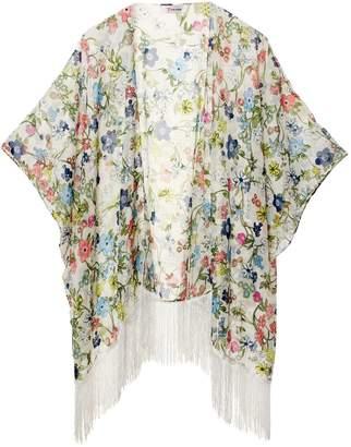 soul young Women's Floral Aztec Leopard Light Chiffon Beachwear Cover up Kimono Cardigan Outfit