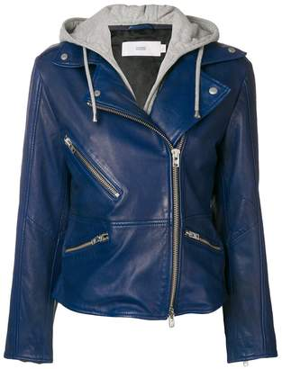 Closed hooded biker jacket
