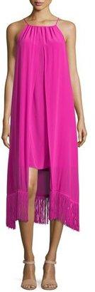 Trina Turk Sleeveless Halter-Neck Silk Fringed Dress $208 thestylecure.com