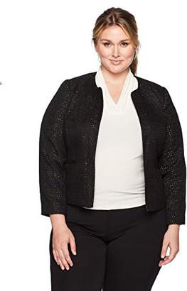 Nine West Women's Plus Size Sequin Tweed Jacket