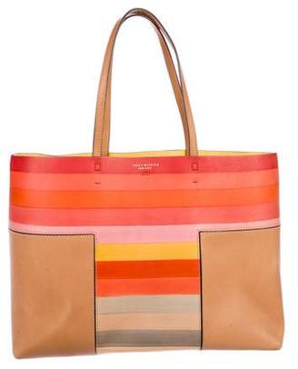 Tory Burch Striped Leather Tote