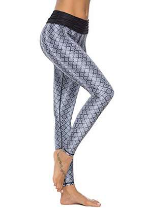3cbfcf9403 Mint Lilac Women's Printed Yoga Pants Full-Length Workout Leggings with  Ruched Waistband