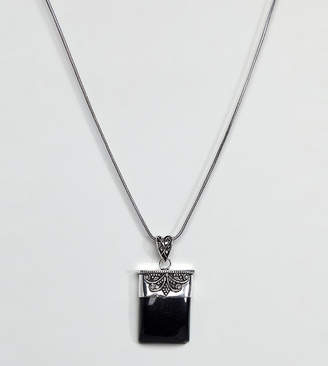 Reclaimed Vintage Inspired Onyx Pendant Necklace